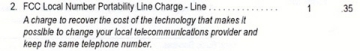 FCC Local Number Portability Line Charge